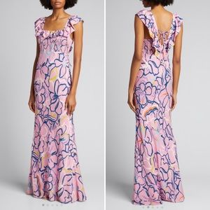 Tanya Taylor Jessa Dress floral pink maxi dress 10